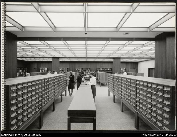 Card catalogue at National Library of Australia, 1968