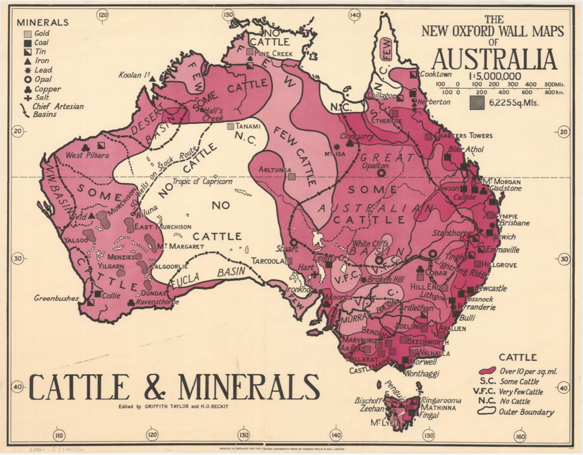 A 1920s map of Australia showing distribution of cattle and minerals