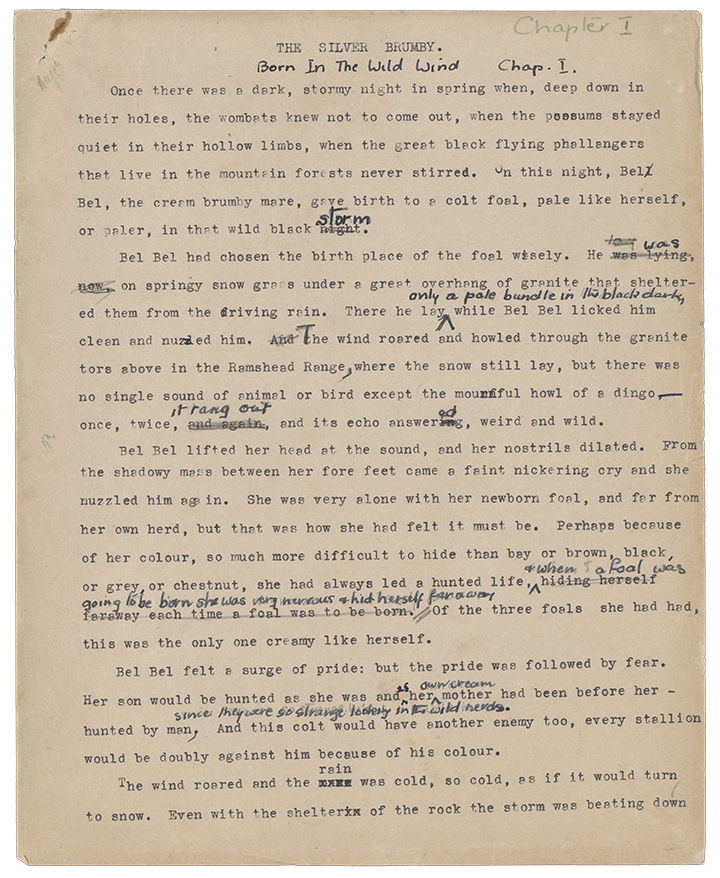 Elyne Mitchell, Page One from the Manuscript of The Silver Brumby, c.1958, in Papers of Elyne Mitchell, c.1928-2002, nla.cat-vn186219, Courtesy Elyne Mitchell Estate