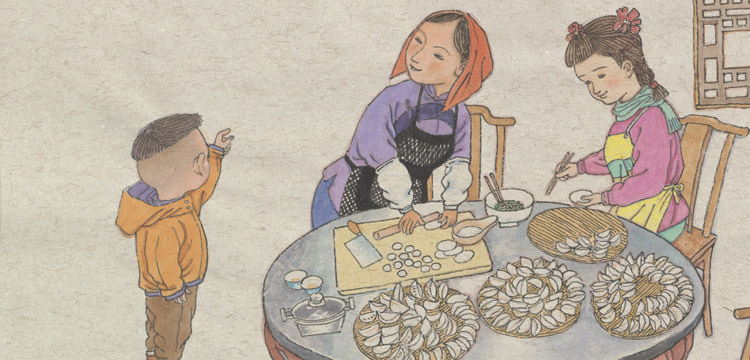 Illustration of Chinese mother and children making dumplings