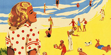 Illustrated retro poster: South Queensland surfing resorts. Woman at the beach looking at the crowd and surf.