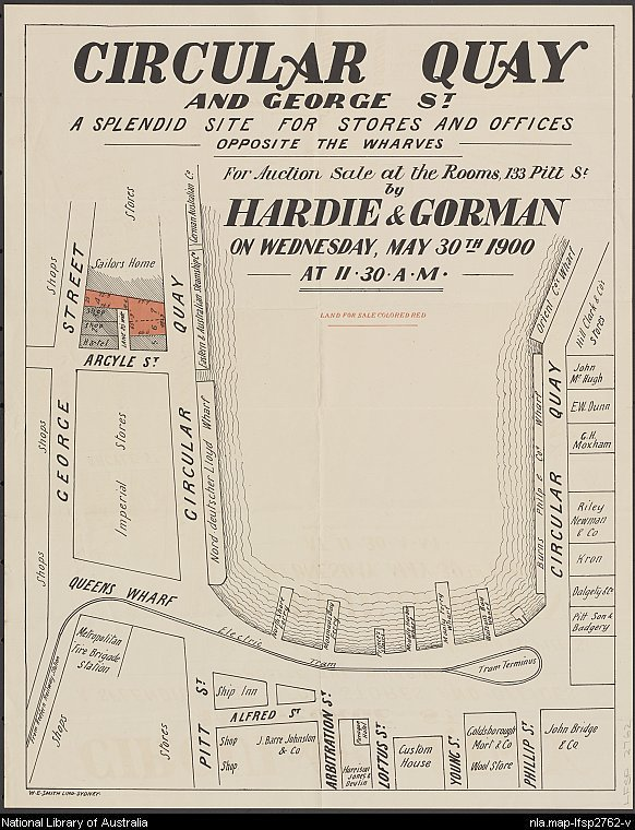 sales plan poster for commercial subdivision at Circular Quay, 30 May 1900