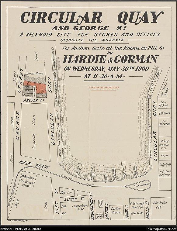 sales plan poster for commercial subdivision at Circular Quay, 30 May 1900