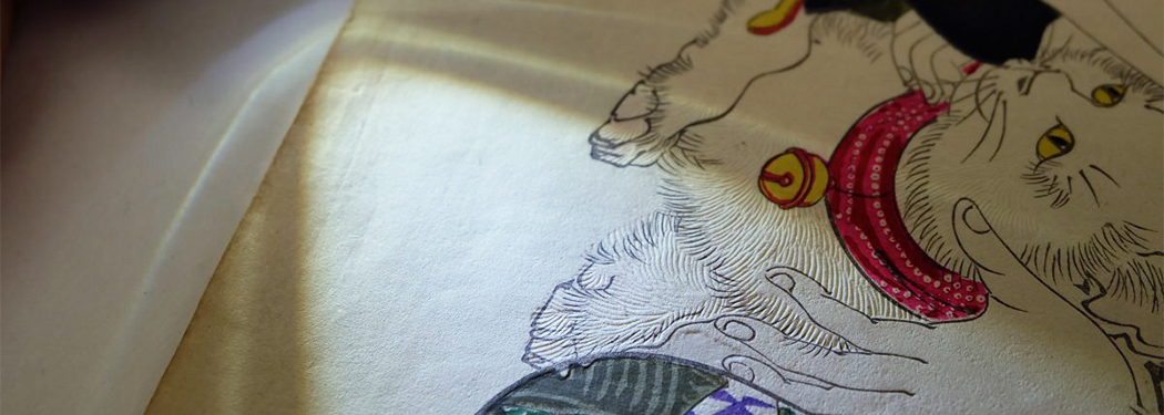 Close up of woodblock print