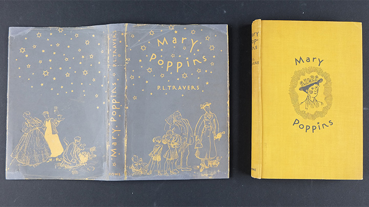 Dust jacket and binding of Mary Poppins after receiving conservation treatment at the National Library of Australia