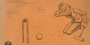 cartoon illustration of a person looking confused playing croquet