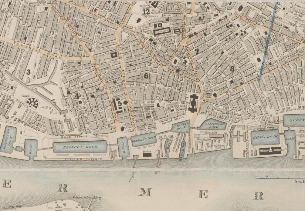 excerpt from a city map of Liverpool in 1854, showing the River Mersey, docks and city streets.
