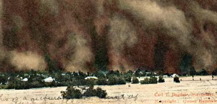 Carl Dugdale, A Phenomenal Dust-storm at Narrandera, New South Wales (detail), between 1900 and 1915