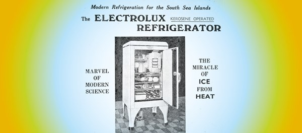 Old advertisement for automatic refrigeration for island homes.