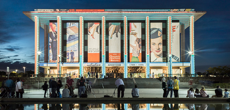 National Library of Australia illuminated during Enlighten 2017