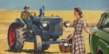 Man on a tractor and lady by a car