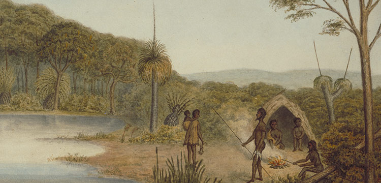 drawing of aboriginal family around a fire