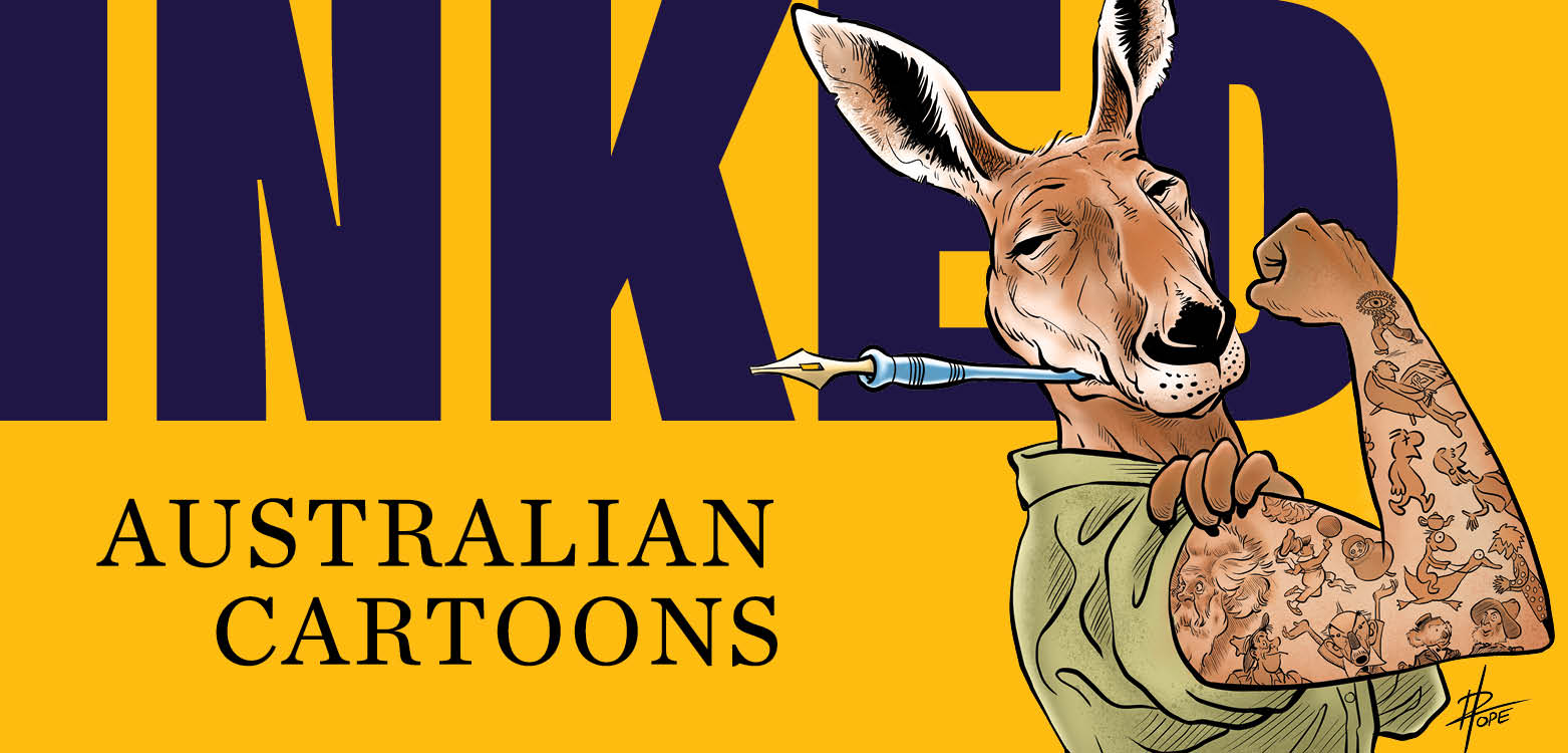 Inked: Australian Cartoons branded banner with the Kangaroo mascot illustration by David Pope