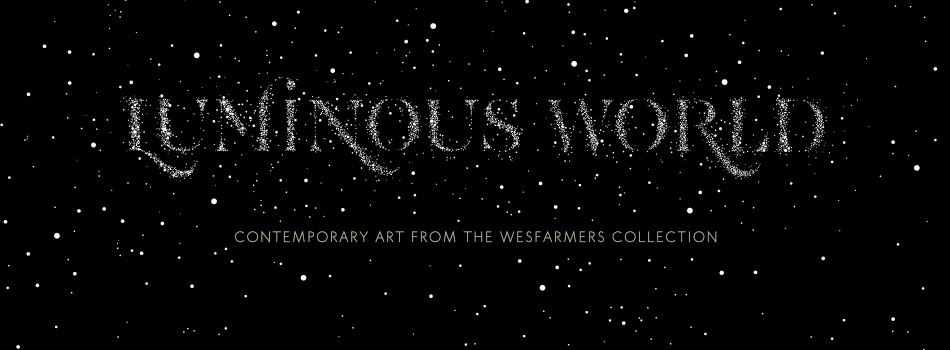 Text of Luminous World written in white stars on a black background
