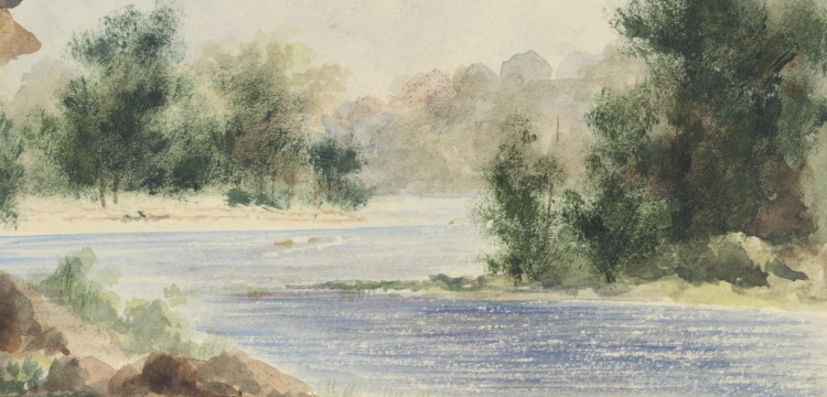 A watercolour painting of Clarence River, near Dr. Dobie's, in New South Wales by Edward Thomson