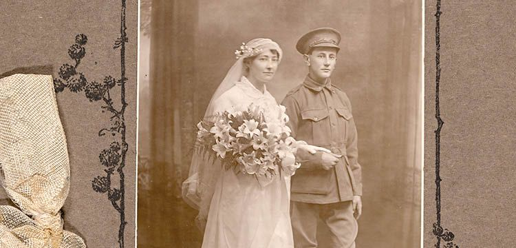 wedding portrait of Kate McLeod and George Searle of Coogee, Sydney, 1915 by James C. Cruden