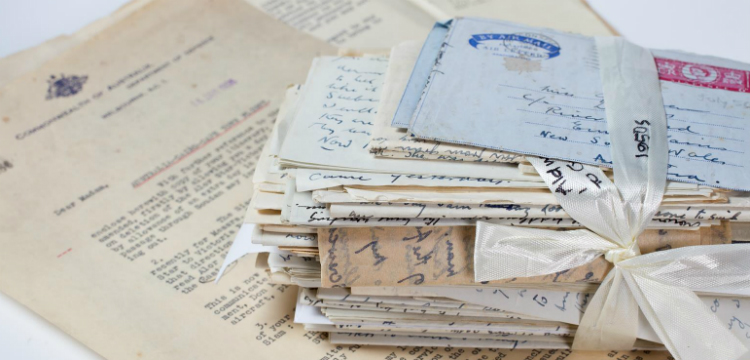 A stack of handwritten material
