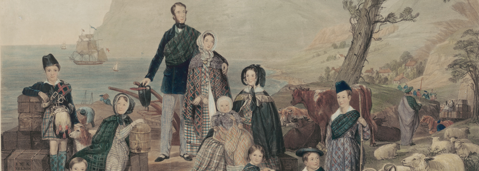 An 1850s lithograph representing James Mackay and family