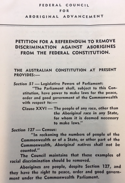 Petition for a referendum to remove discrimination against Aborigines from the Federal Constitution