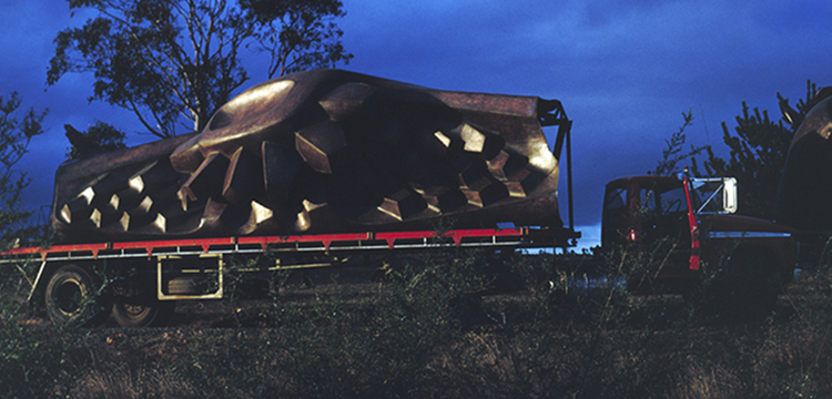 Kevin Goodridge, Transporting the Tom Bass Lintel Sculpture by Truck to the National Library of Australia, Minto, New South Wales, 1968
