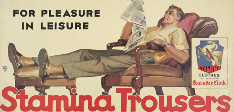 Advertisement for Stamina Trousers: For Pleasure in Leisure