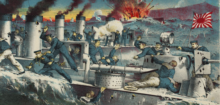 Chromolithograph of  The Destruction of Russian Torpede Destroyers by Japanese Torpede Destroyers at Port Arthur, 1904