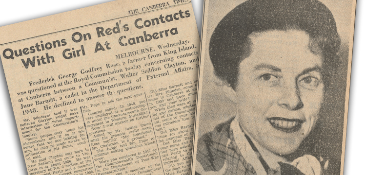 The Canberra Times and The Argus, Newspaper clippings relating to June Barnett, 1954