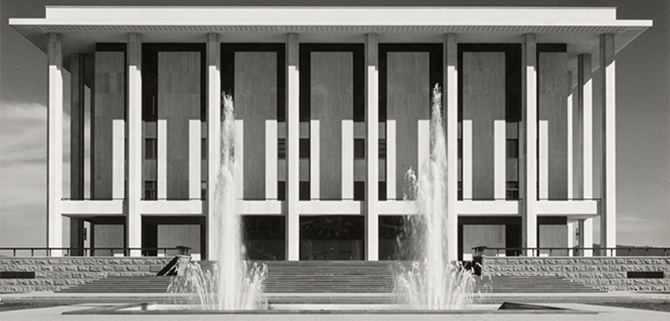 Max Dupain, Front view of the National Library of Australia with forecourt and fountains, 1968