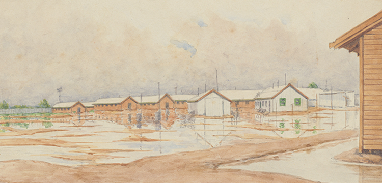 Theodor Engel, Watercolour of Hay Internment Camp, Hay, New South Wales, 1941