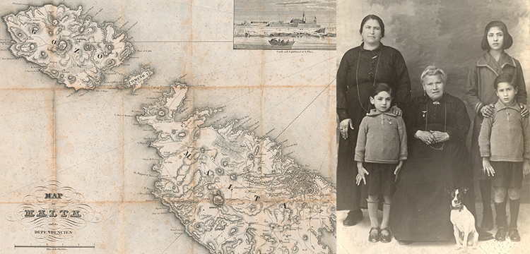 'Map of Malta and Its Dependencies', 1832; 'Portrait of Meilak Family Members, Taken in Malta', c.1922