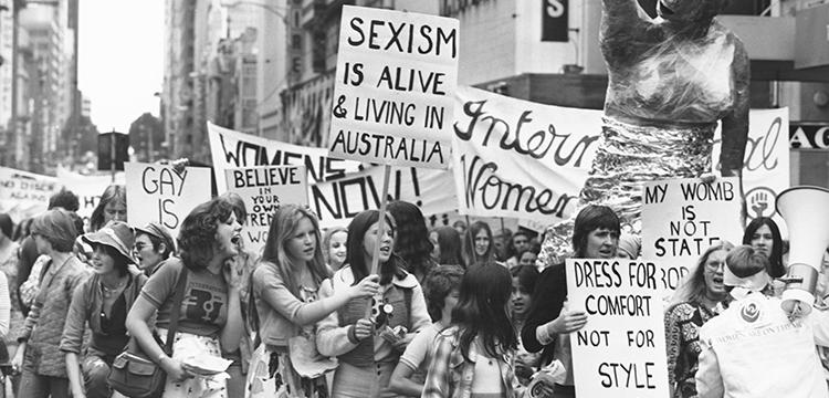 John McKinnon, Australian Information Service, Women on the March Wave their Placards at the International Women's Day March, Melbourne, 8 March, 1975, nla.cat-vn3510654