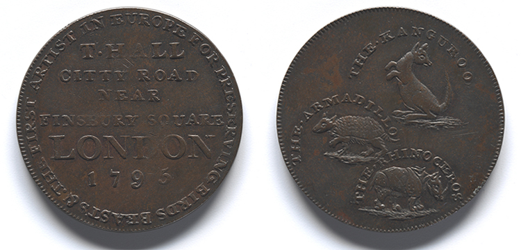 Zoological exhibition entry token featuring a kangaroo, armadillo and rhinoceros, created for a London zoological exhibition in 1795