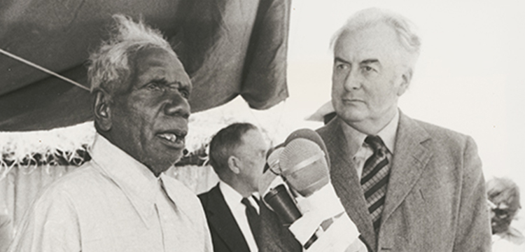 Penny Tweedie, Elder Vincent Lingiari of the Gurindji Language group, addressing the media after Prime Minister Gough Whitlam officially returns Aboriginal land at Wattie Creek, Northern Territory, 1975