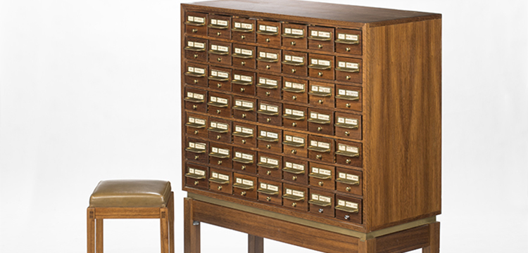 Fred Ward, Card Catalogue and Consultation Stool for the National Library of Australia, c.1965-67, Heritage Furniture Collection