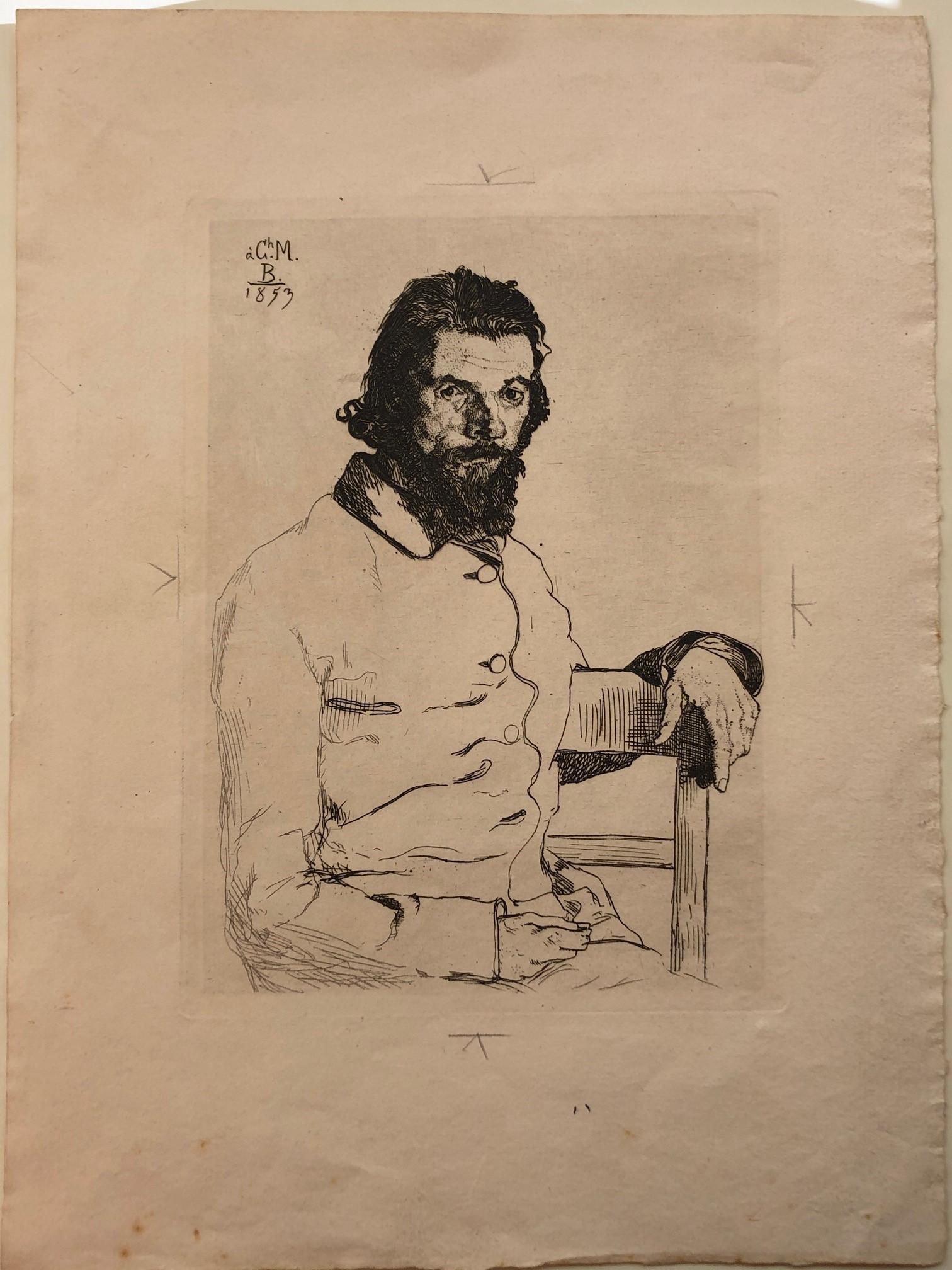 Félix Bracquemonde (1833–1914), Portrait of Charles Meryon, etching, 1853, Rex Nan Kivell Collection; NK4205
