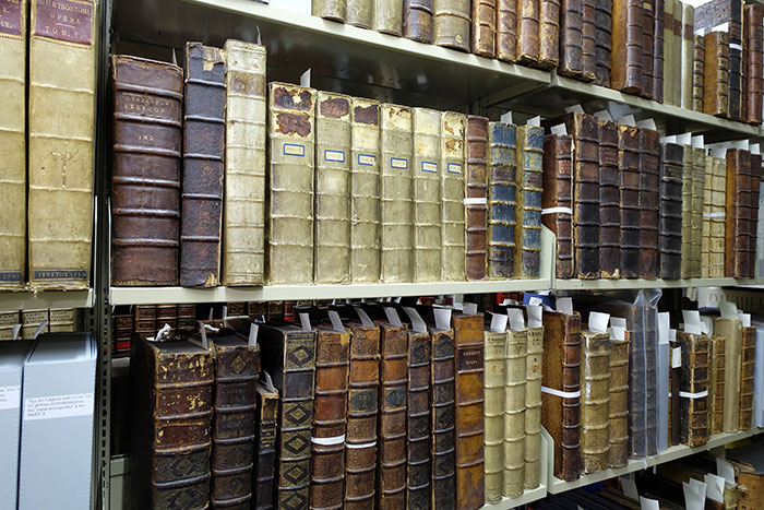 Shelves of rare books