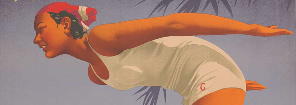 A 1930s travel poster featuring a woman at the beach