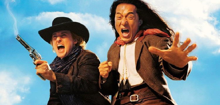 Film still of Owen Wilson and Jackie Chan