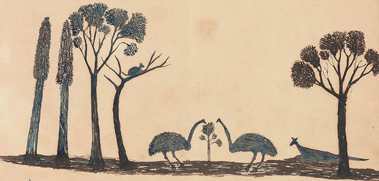 Aboriginal drawing of a possum, two emus and a kangaroo amongst trees