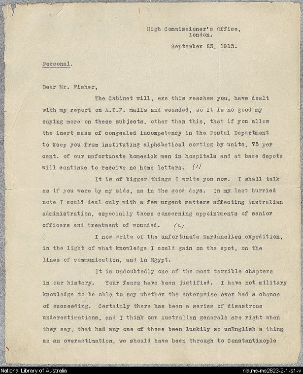 Gallipoli letter from Keith Arthur Murdoch to Andrew Fisher