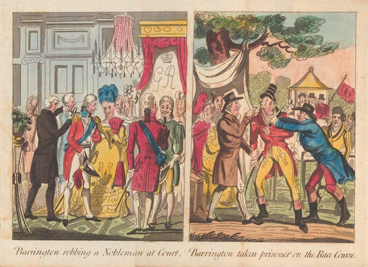 Barrington robbing a Nobleman at Court and Barrington taken prisoner on the Race Course
