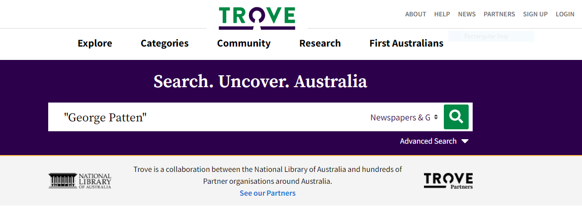 Trove search bar with text George Patten