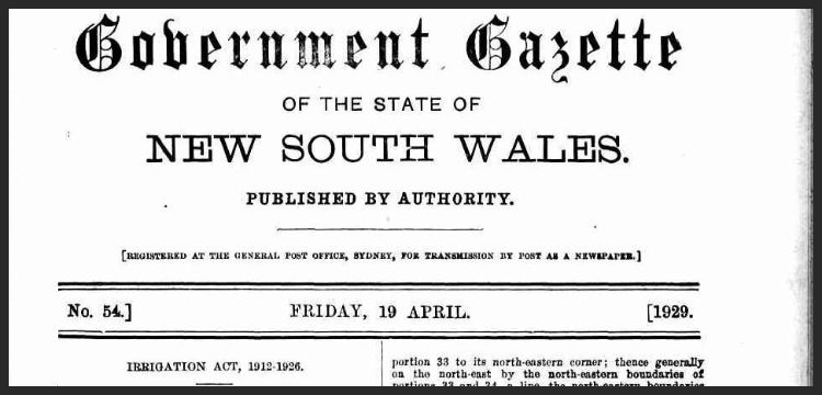 "Top of title page of Government Gazette, reads: ""Government Gazette of the state of New South Wales Published by authority. [Registered at teh general post office, Sydney, for transmission by post as a newspaper.] No. 54.] Friday, 19 April. [1929."""