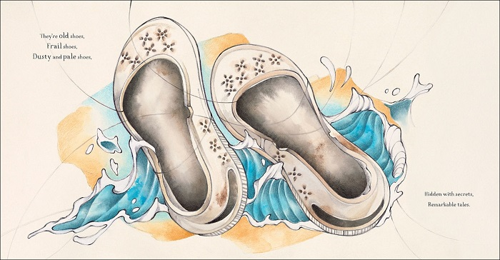 An illustration of big white shoes over a choppy sea