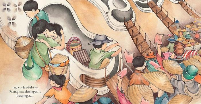 Illustration of many refugees boarding boats shaped like shoes