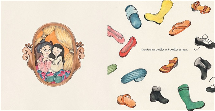 On the left-hand side of the spread is an illustration of a young Vietnamese girl and her grandmother. On the right-hand side is an illustration of many shoes floating on the page