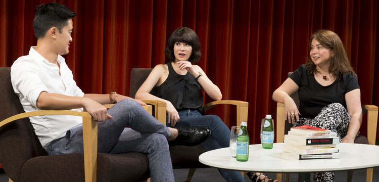 Photograph of Ben Law, Michelle Law and Andrea Ho in conversation