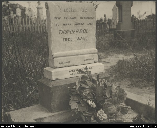 Headstone of the grave of Fred Ward, Thunderbolt, Uralla, New South Wales