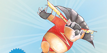 Illustration of a wombat in a superhero costume