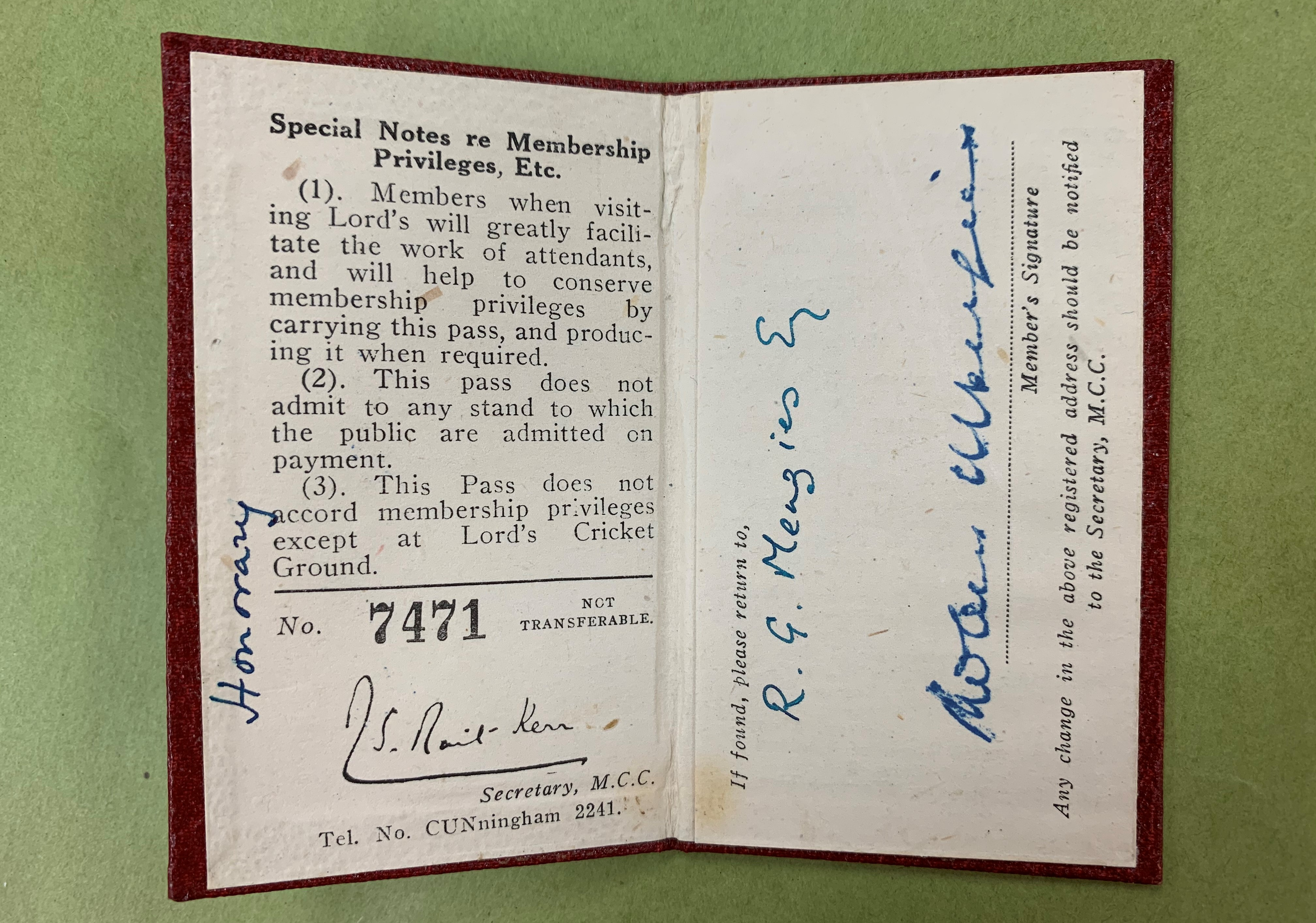 Membership card for the Melbourne Cricket Club held by Sir Robert Menzies